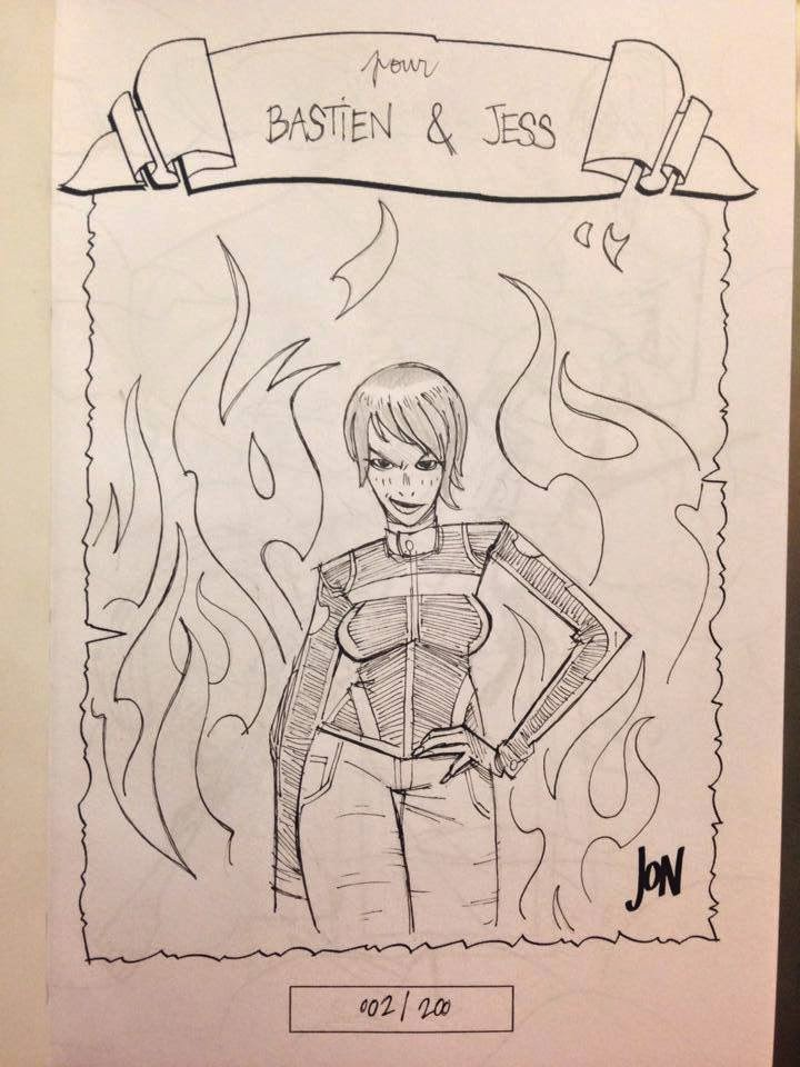 jonathan jon lankry 2D artist animation comic book animated sketchbook 2014 dedicace biker woman
