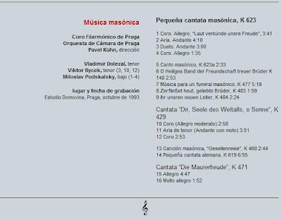 Mozart - Col. El País 250 Aniversario-(2006)-16-Música Masónica-contenido