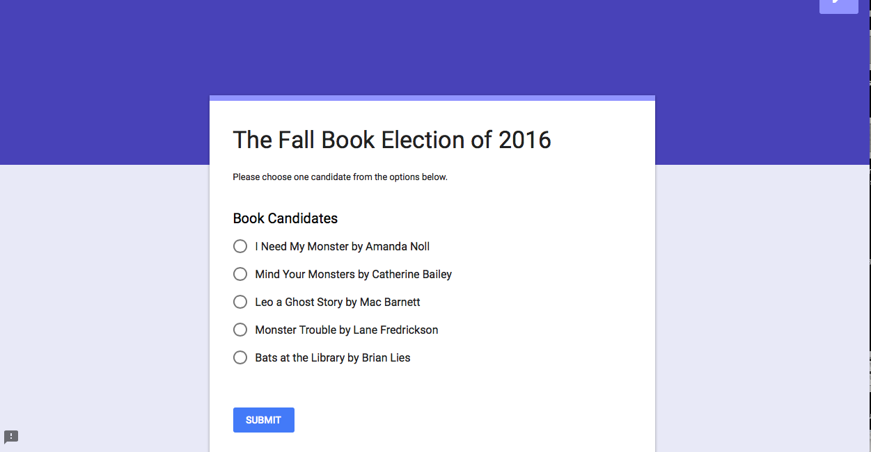 Teaching 3rd with Mr. G: The Fall Book Election 2016