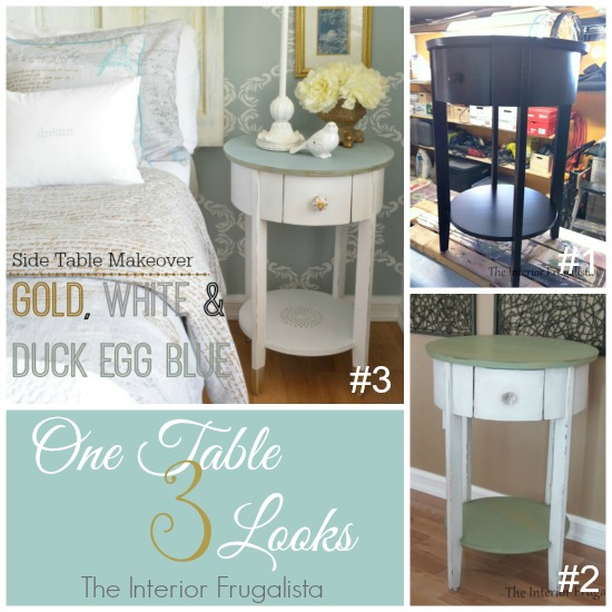 Side Table Makeover Before, Second Makeover, and the final reveal