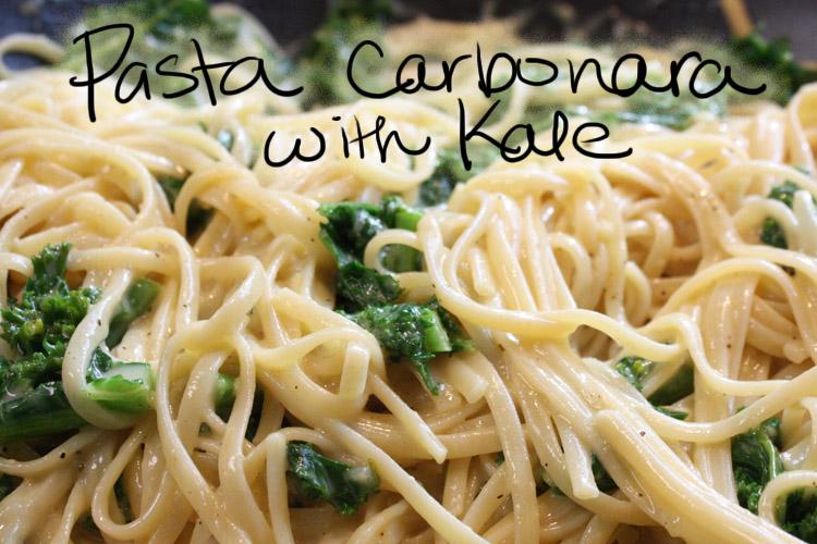 Ginger Flair: Recipe: Pasta Carbonara with Kale