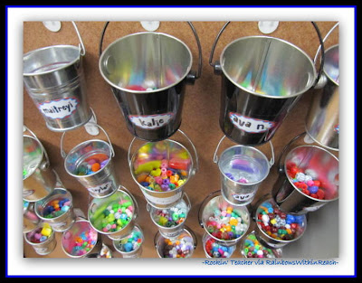 photo of: Beads in Behavior Buckets in Second Grade Classroom (Rockin' Teacher Materials via RainbowsWithinReach)