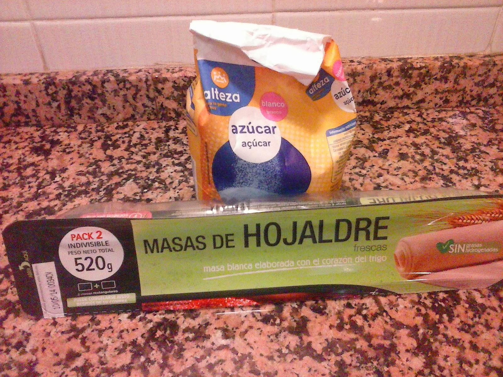 Ingredientes para palmeritas de hojaldre