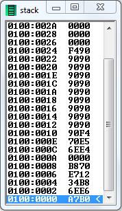 stack content of 8086