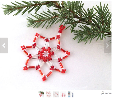 Peppermint Twist Beaded Snowflakes - beading kits available on Etsy