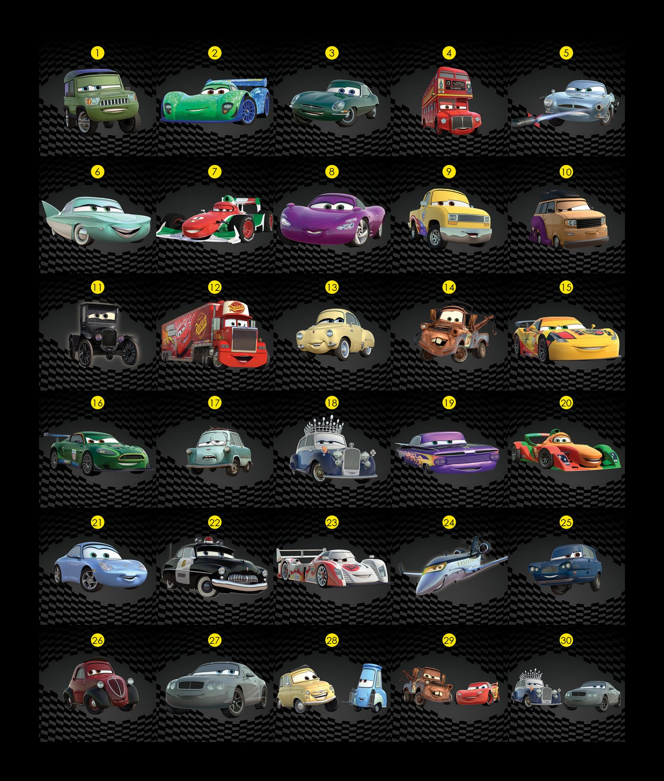 names and pictures cars movie characters lightning mcqueen sally doc - Cars The Movie 2 Characters