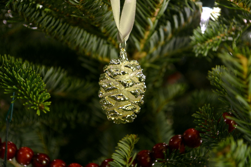 cozy birdhouse | silver giant sequoia cone christmas ornament