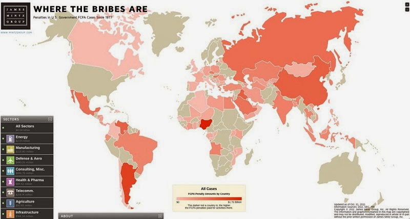 40 Maps That Will Help You Make Sense of the World - Map of Countries with the Most Violations of Bribery
