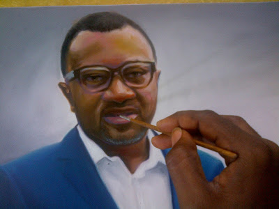 Mr Femi Otedola Portrait painting in the making.