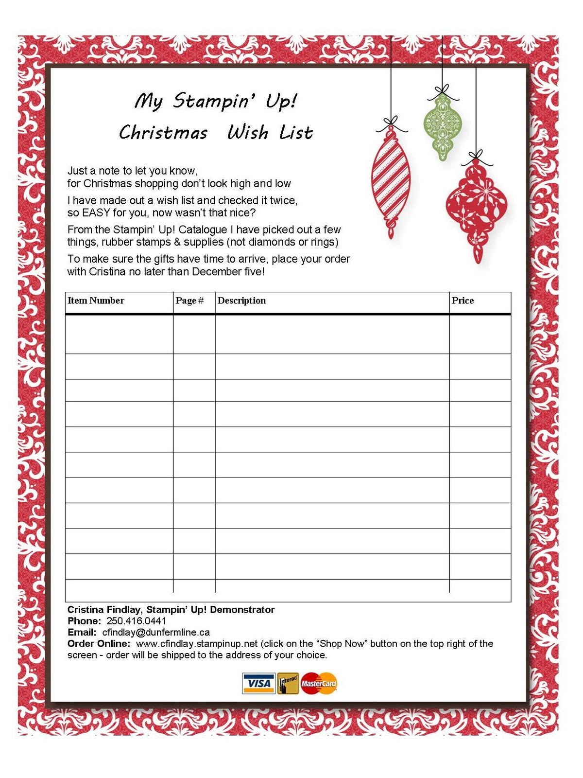 Christmas List Christmas wish list for