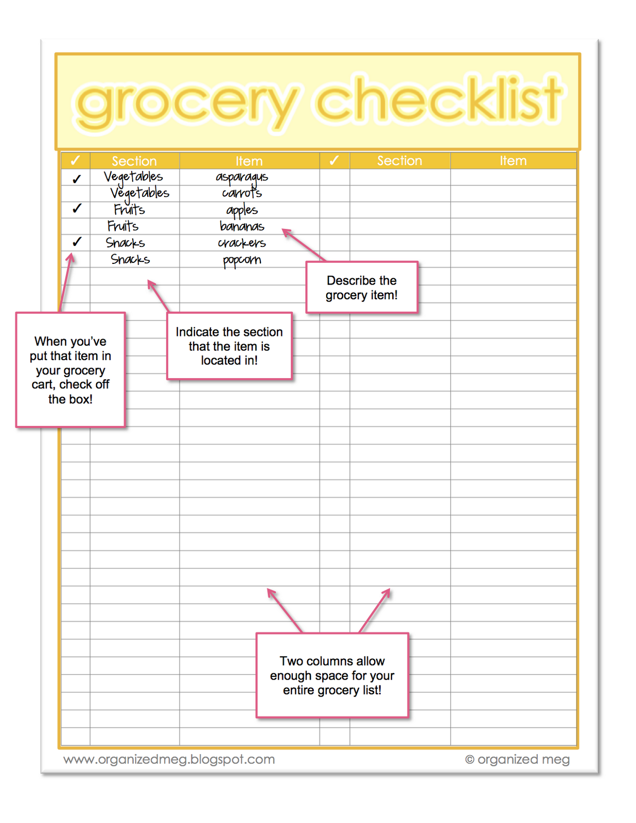 Organized Meg Grocery List Printables – Example Grocery List