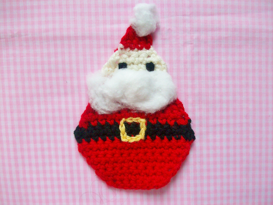 Free Crochet Santa Claus Coaster Pattern : MooeyAndFriends: Santa Coaster Crochet Pattern ? 12 Days ...