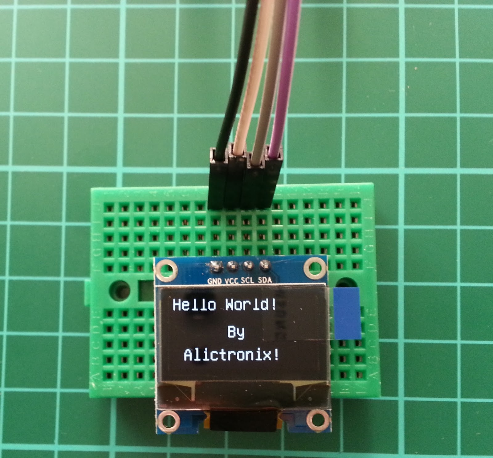 Alictronix hello world inch i c oled on