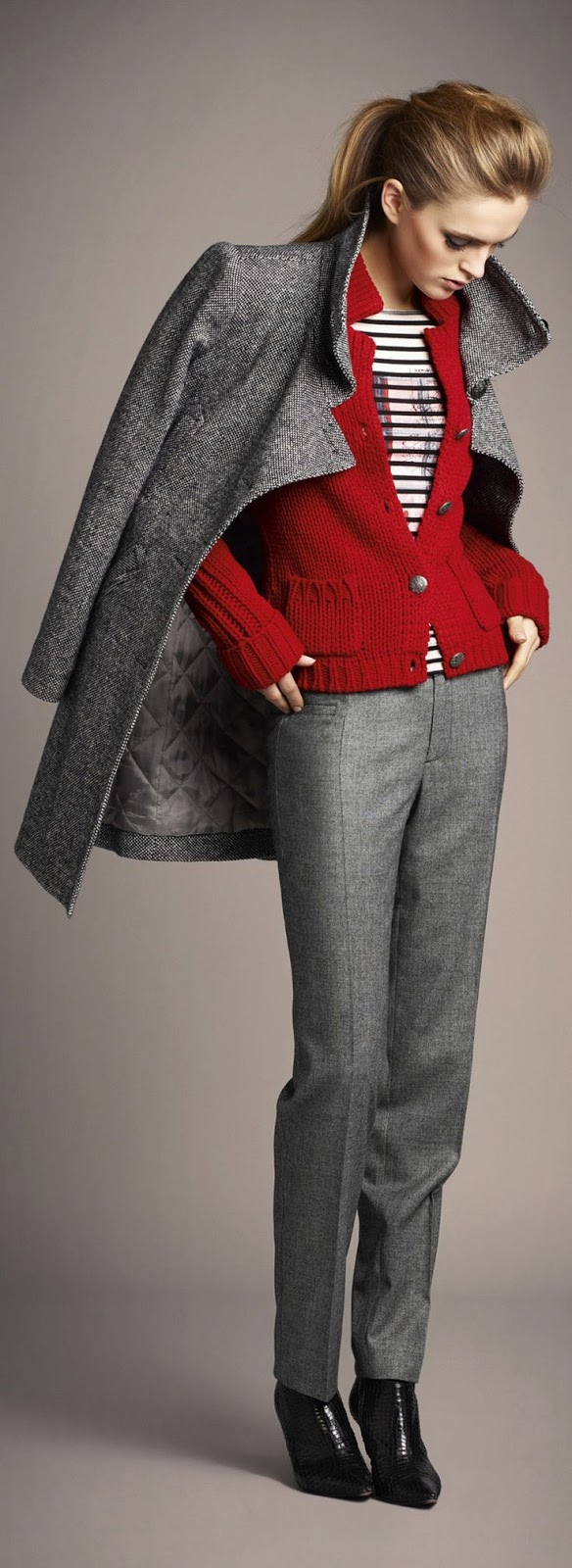 Grey Outfit, Red Sweater | PIN Blogger