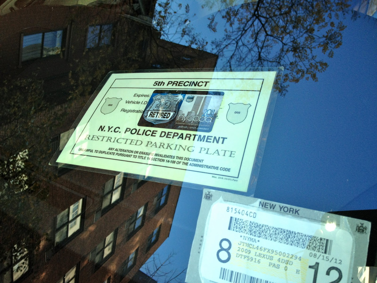 Nypd parking placard 5th precinct nyc pba card this is illegal 120 w 12th street