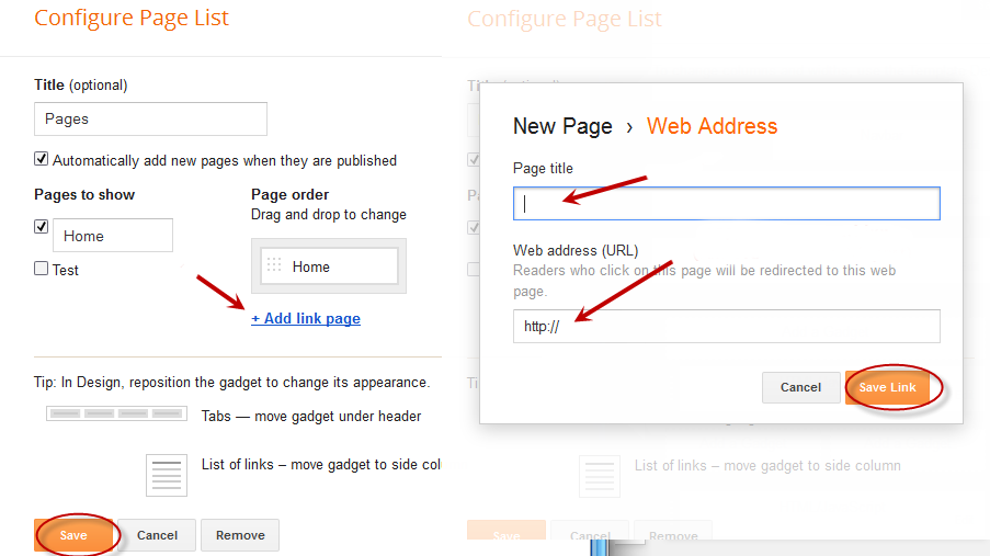 add web address, blogger tutorial