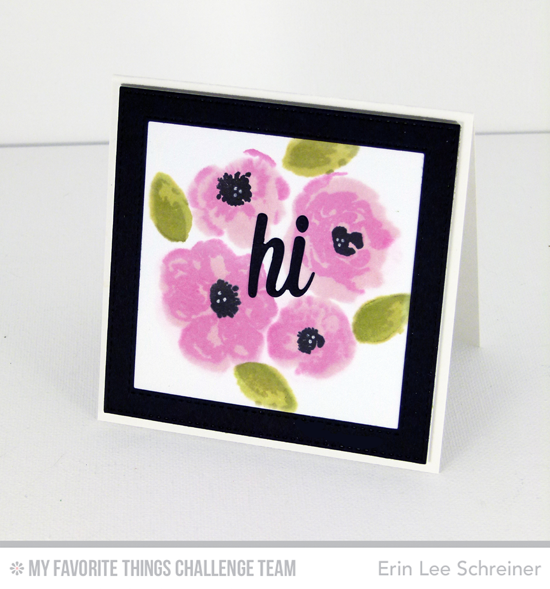 Pretty Hi Card by Erin Lee Schreiner featuring the Watercolor Flowers stamp set and Happy Hellos Die-namics #mftstamps