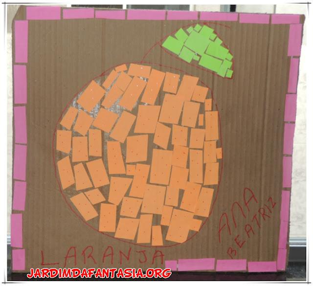 Mosaico de Fruta Atividade Colagem Psicomotricidade Fina