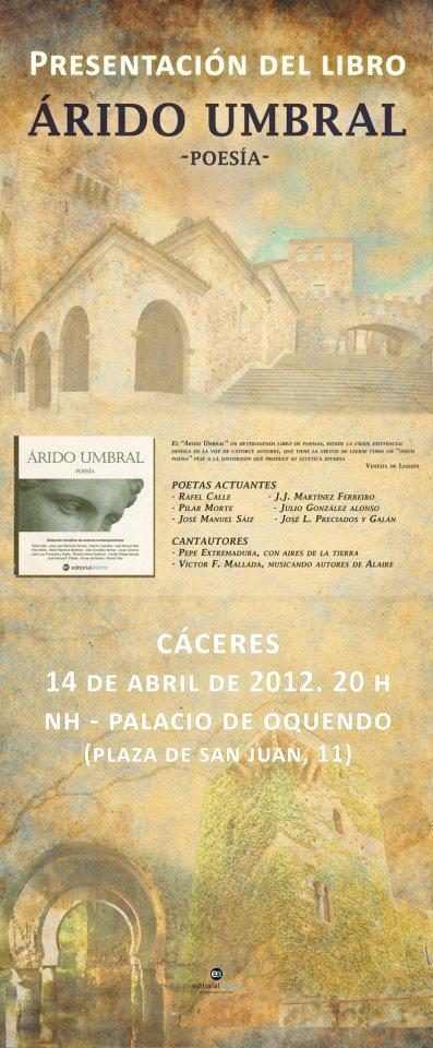 """Presentación de """"Árido umbral"""" en Cáceres"""