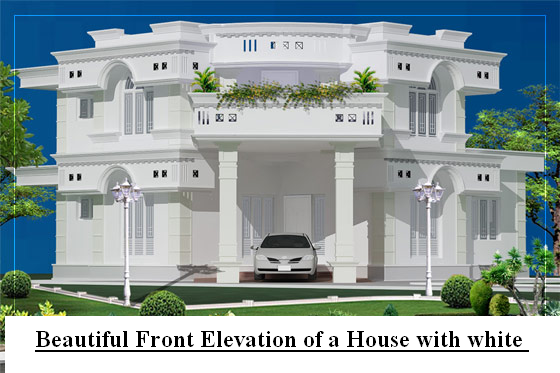 Beautiful Front Elevation Of Kerala Houses : House front elevation white kerala joy studio design