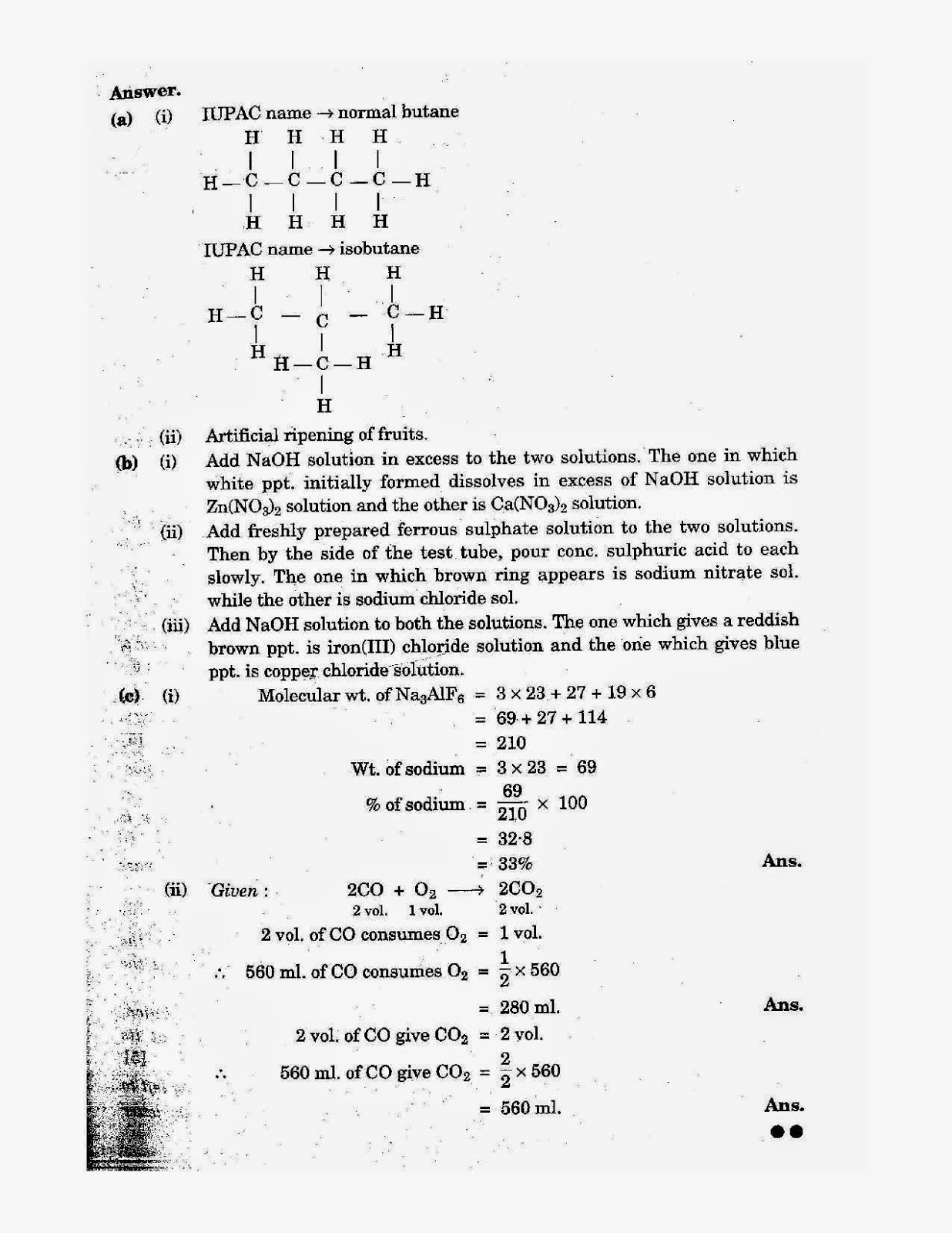 icse class 10th chemistry solved question paper 2006