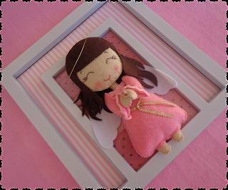 quadro com anjinha em feltro para decoração infantil
