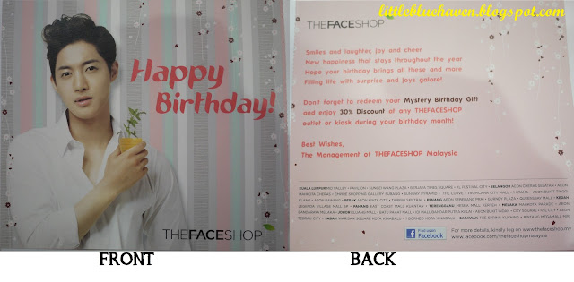 The Face Shop, birthday card