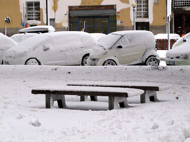 Benches covered with snow, viale degli Avvalorati, Livorno