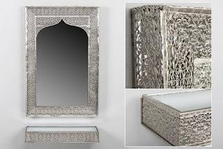 Repisa consola y espejo de metal