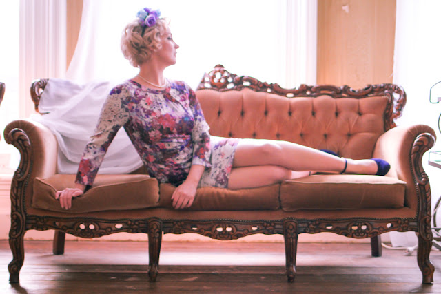 @findingfemme in H&M pressed floral dress with blue and purple flower crown and Modcloth shoes at Suttons House of Music.