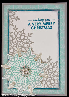 Beautiful Festive Flurries Christmas Card by UK based Stampin' Up! Demonstrator Bekka Prideaux - make sure you check out her blog!