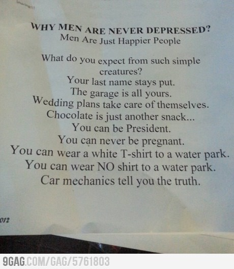 Why Men Are Never Depressed?