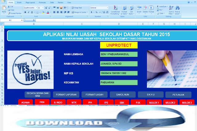 Download Aplikasi Nilai Ijazah Sekolah Dasar Tahun 2015.Xls