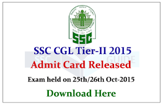 SSC CGL Tier II 2015 Admit Card Released