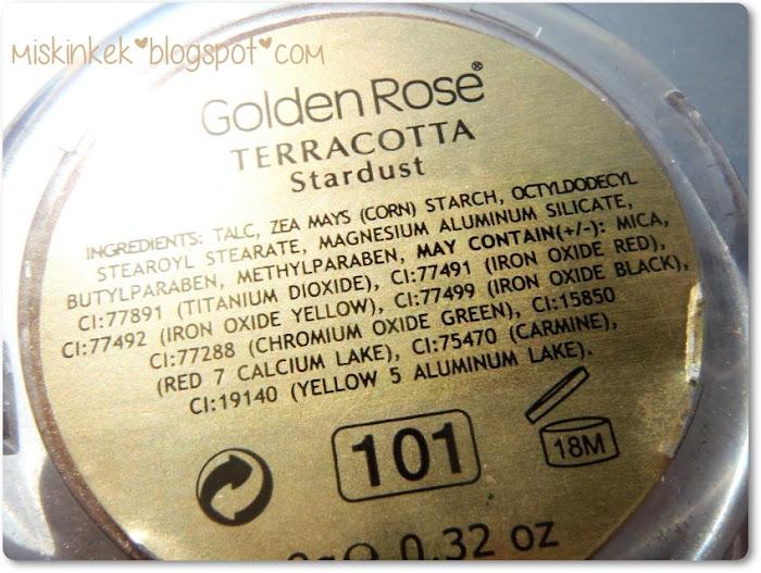 ingredients golden rose terracotta stardust blush / içerik golden rose