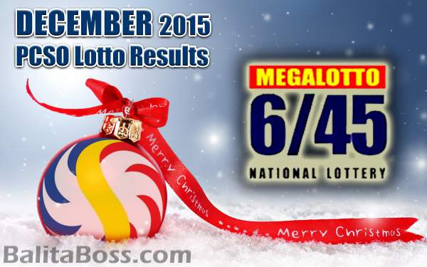 Image: December 2015 MegaLotto 6/45 PCSO Lotto Results