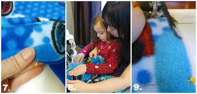teaching kids to sew: making a fleece blanket