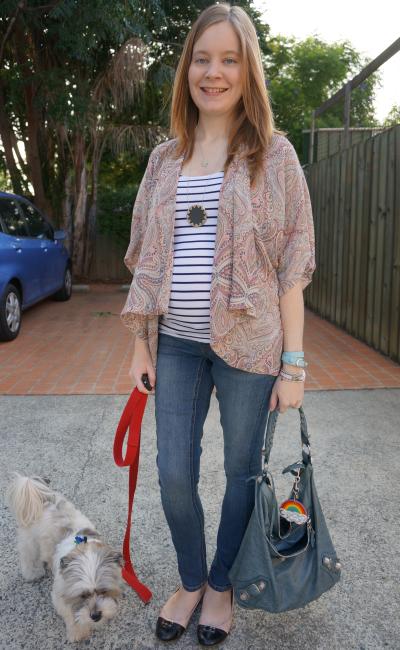 Casual Friday Print Mixing stripe tank paisley kimono jacket skinny jeans baby bump
