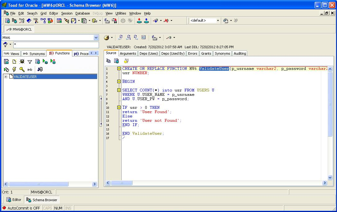 Function create table oracle