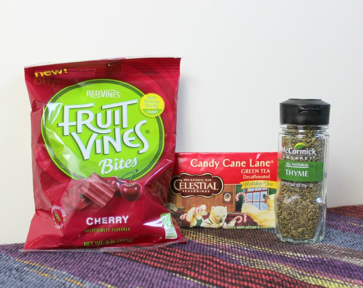 Fruit Vines Bites - Cherry Celestial Seasonings Candy Cane Lane Green Tea - Decaf McCormick Gourmet Thyme