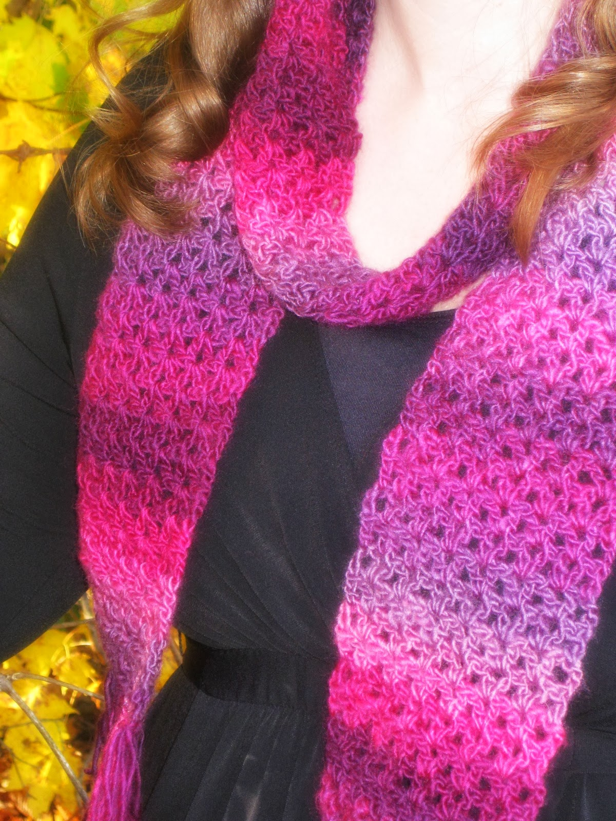 Free Crochet Patterns Using Red Heart Unforgettable Yarn : Unforgettable One-Skein Scarf - Free Crochet Pattern ...