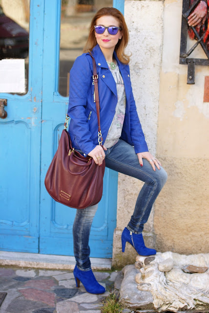 Morgan blue biker jacket, Fashion and Cookies, fashion blogger