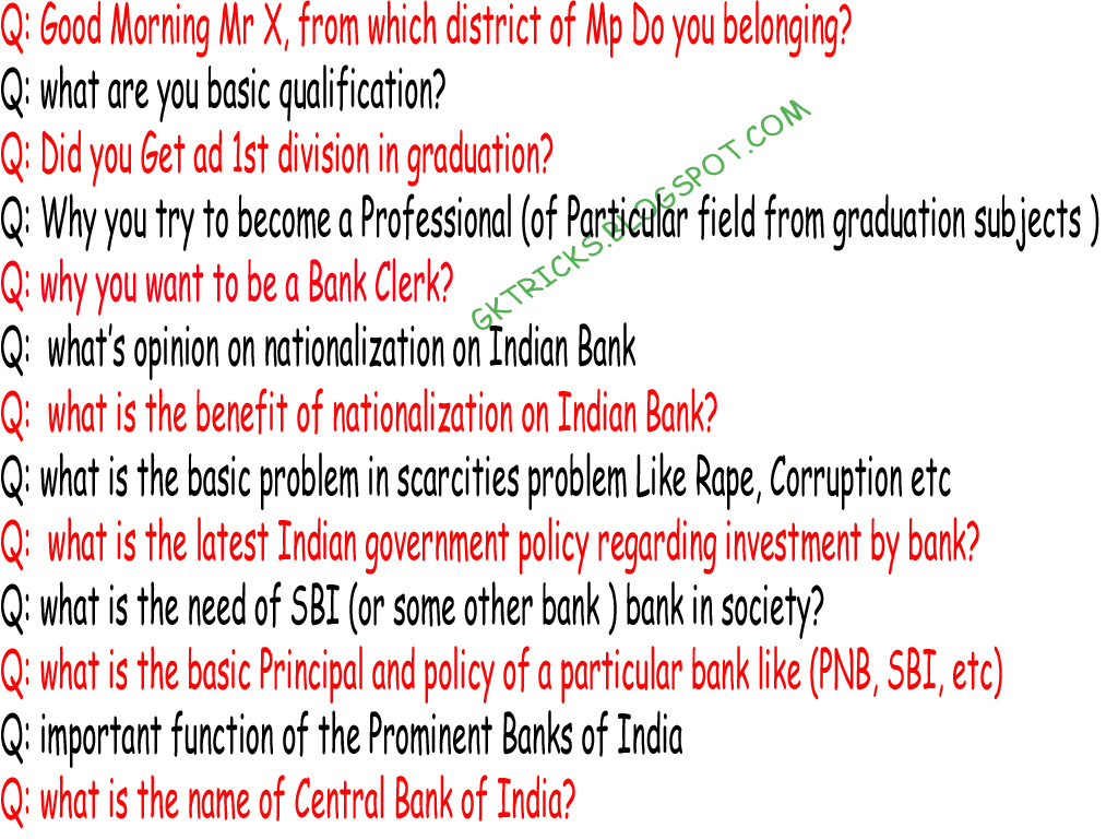 ibps bank clerk imp interview questions or tips for  if you have passed the test of ibps clerk and the interview is in search of the question pay attention to the questions you down