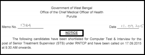 Purulia District RNTCP Latest Senior Treatment Supervisor (STS) Result declared