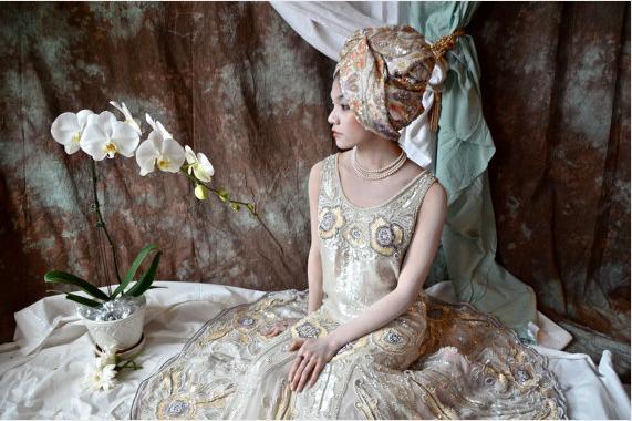 Handmade Art Nouveau style Wedding Gown