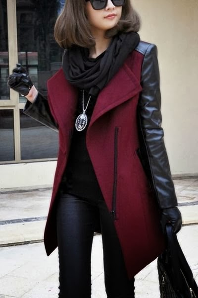 Adorable burgundy jacket with black scarf fashion for fall