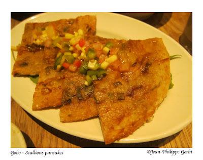Image of Scallion pancake at Gobo Vegetarian restaurant in NYC, New York