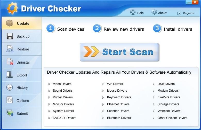 برنامج Driver Checker للبحث عن تعريفات اي جهاز