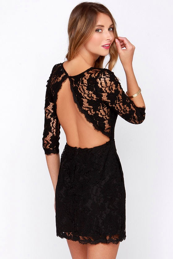 Backless Black Lace Dress $49,00