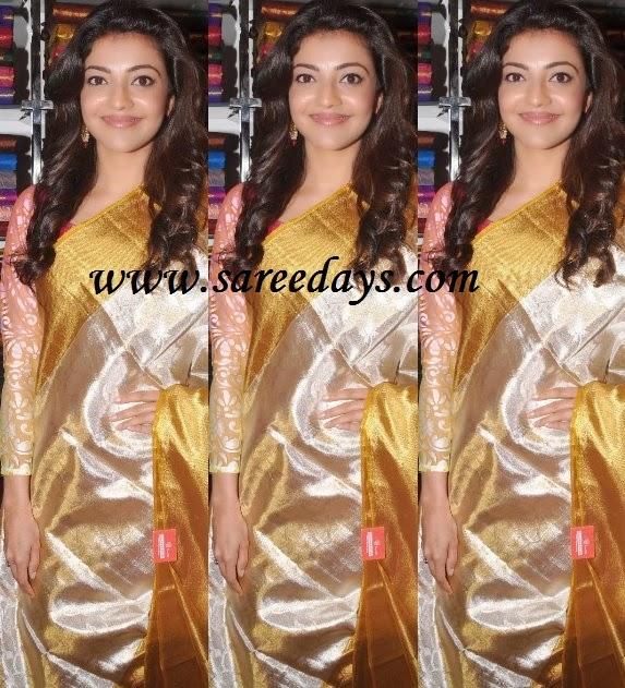 Latest saree designs kajal agarwal displaying uppada pattu saree checkout actress kajal agarwal displaying uppada pattu saree with gold zari self border altavistaventures Image collections